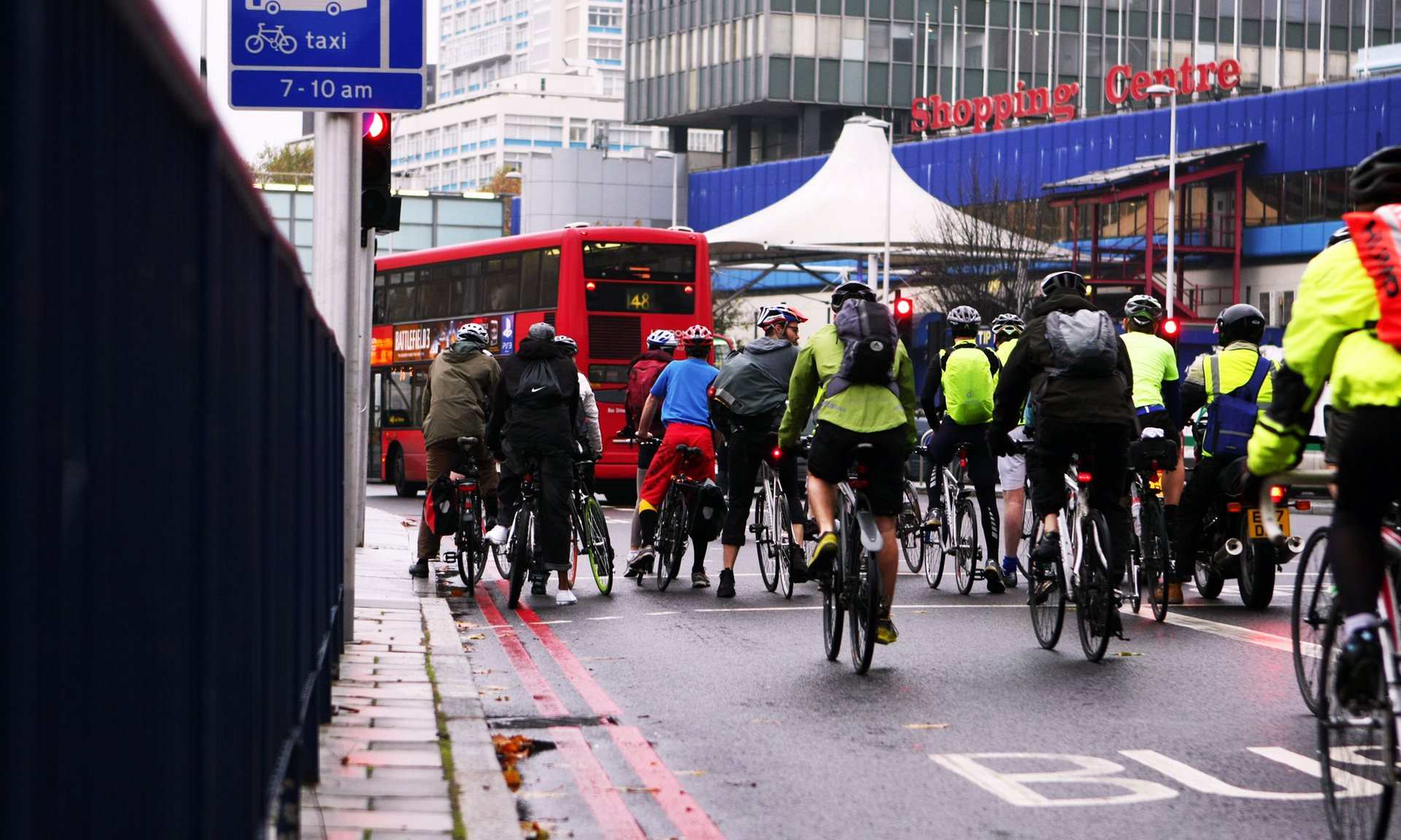 Cyclists in morning rush hour at the Elephant and Castle in London. Photograph: format4/Alamy