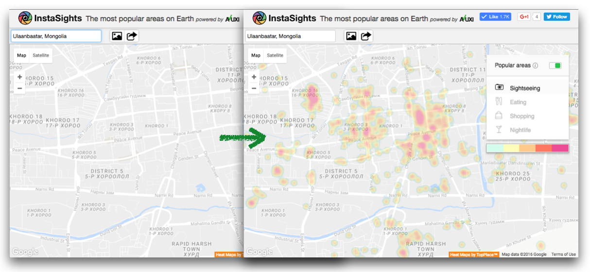 Worldwide coverage: TopPlace vs Google Maps comparison – Ulaanbaatar, Mongolia.