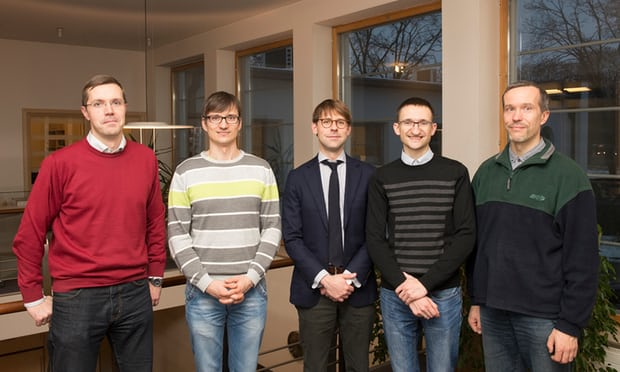 The Tilde team (l-r): Valentins Kozlovskis, Valters Sics, Rihards Kalnins, Marcis Pinnis, and Roberts Rozis. Photograph: Tilde
