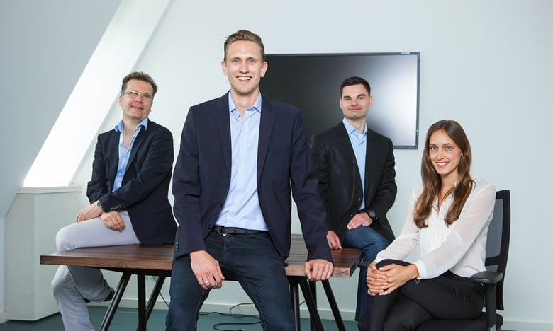 The IPlytics team (L-R): Sebastian Rose, lead software architect; Tim Pohlmann, CEO and founder; Dmtri Gerats, CTO, Rosann Brandt, COO and communications director. Photograph: IPlytics